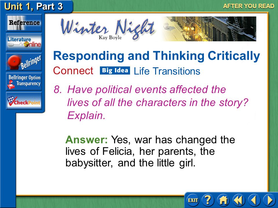 Unit 1, Part 3 Winter Night AFTER YOU READ Answer: To start paying more attention to Felicia Responding and Thinking Critically Analyze and Evaluate 7.What advice would you like to give to Felicia's mother?