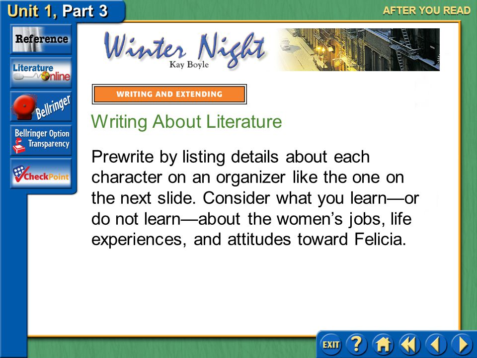 Unit 1, Part 3 Winter Night AFTER YOU READ Writing About Literature Compare and Contrast Characters Winter Night implies a world of contrast between Felicia's mother and the woman who arrives to care for Felicia.