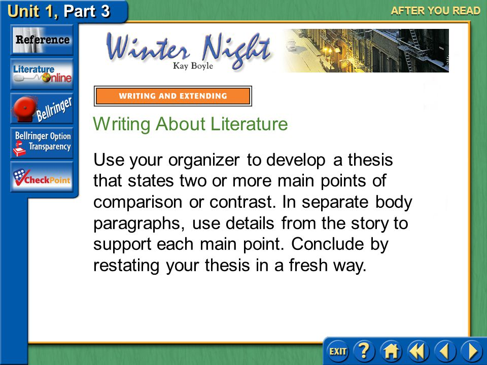 Unit 1, Part 3 Winter Night AFTER YOU READ Writing About Literature