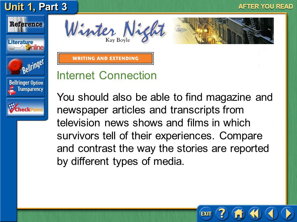 Unit 1, Part 3 Winter Night AFTER YOU READ Internet Connection Like the woman in Winter Night, many survivors of Nazi concentration camps have told others about their experiences in the camps.