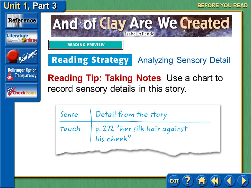 Unit 1, Part 3 And of Clay Are We Created BEFORE YOU READ Analyzing Sensory Detail Sensory details are highly descriptive words and phrases that appeal to one or more of the senses: hearing, sight, smell, taste, and touch.