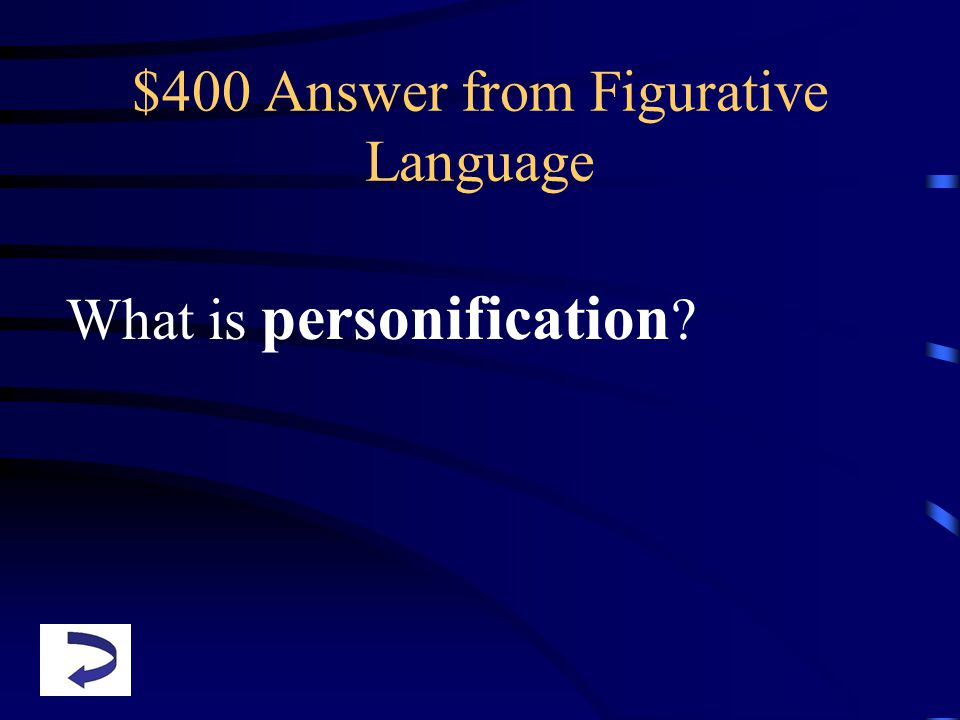 $400 Answer from Figurative Language What is personification ?