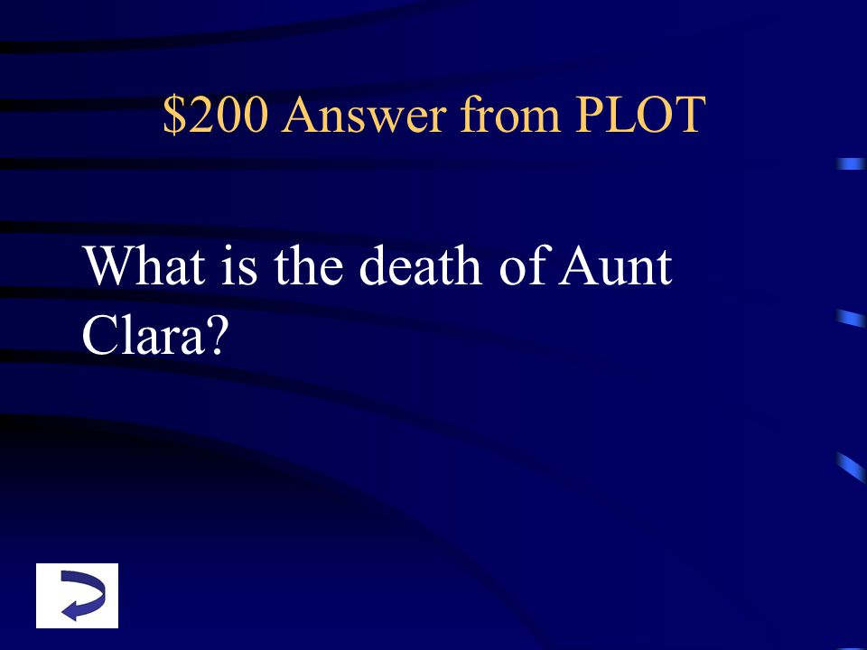 $200 Answer from PLOT What is the death of Aunt Clara