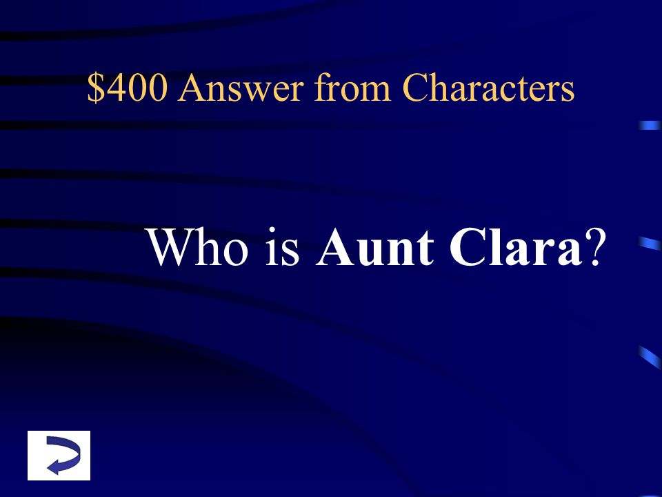 $400 Answer from Characters Who is Aunt Clara?