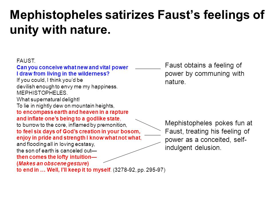Mephistopheles satirizes Faust's feelings of unity with nature.