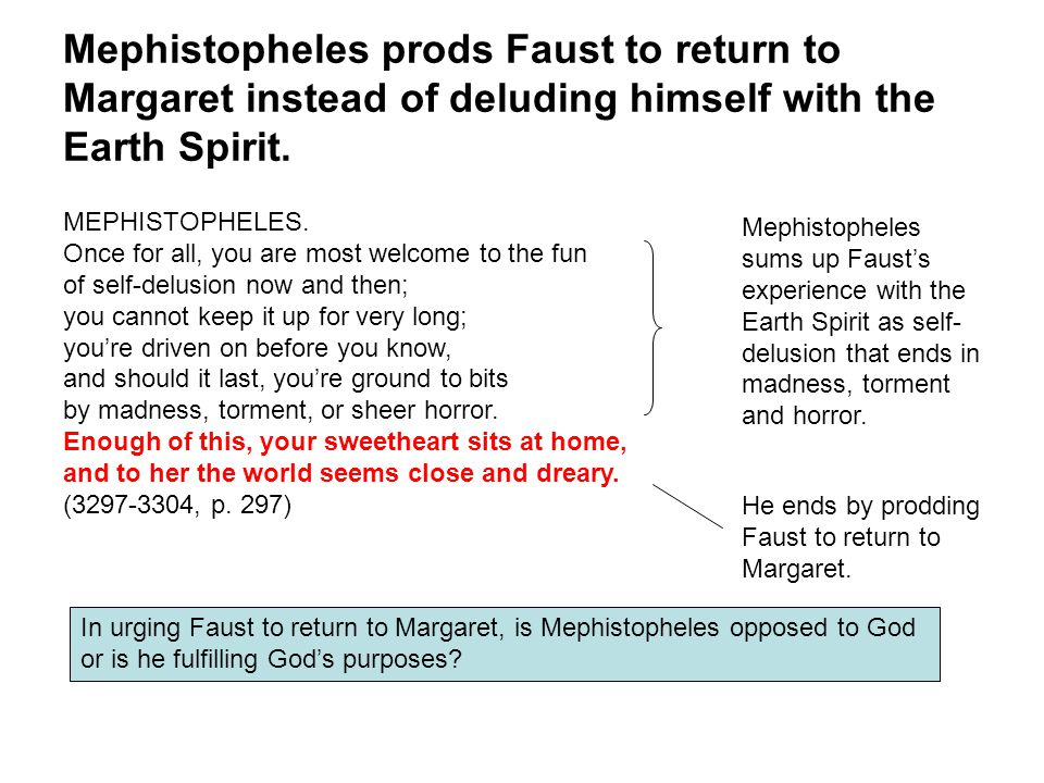 Mephistopheles prods Faust to return to Margaret instead of deluding himself with the Earth Spirit.