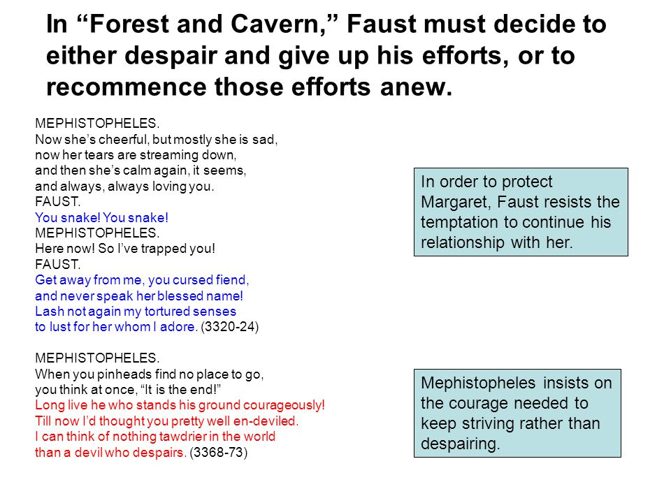 In Forest and Cavern, Faust must decide to either despair and give up his efforts, or to recommence those efforts anew.