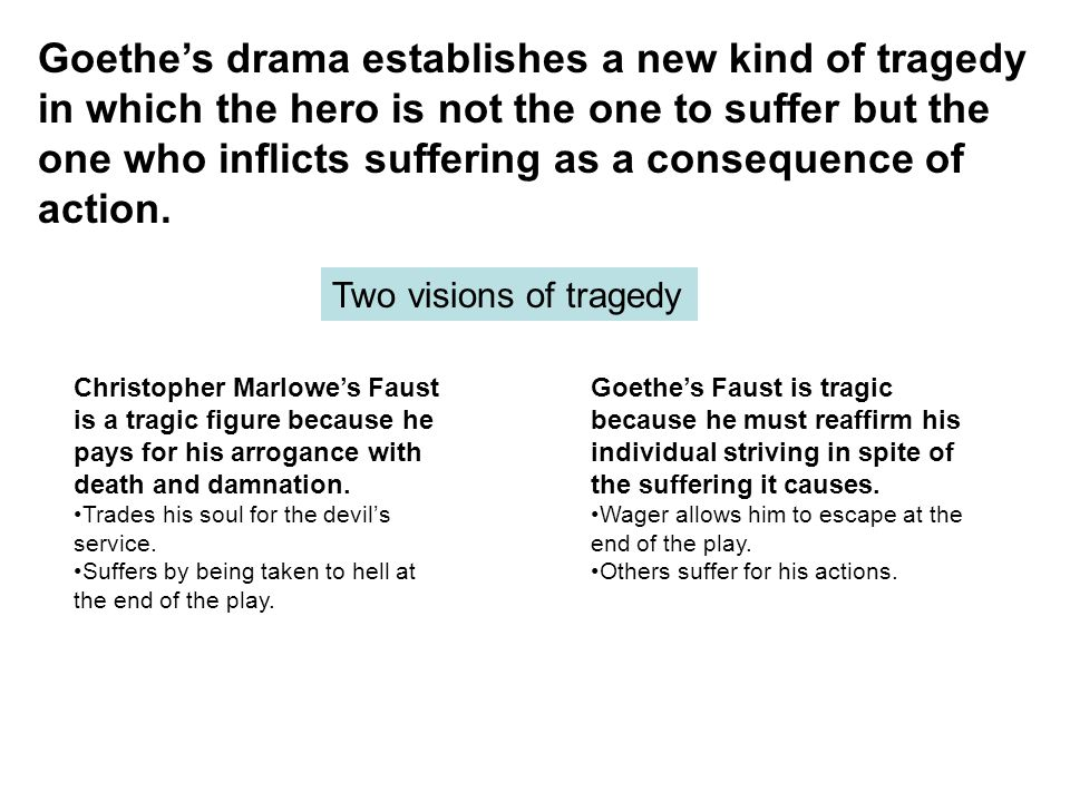 Goethe's drama establishes a new kind of tragedy in which the hero is not the one to suffer but the one who inflicts suffering as a consequence of action.