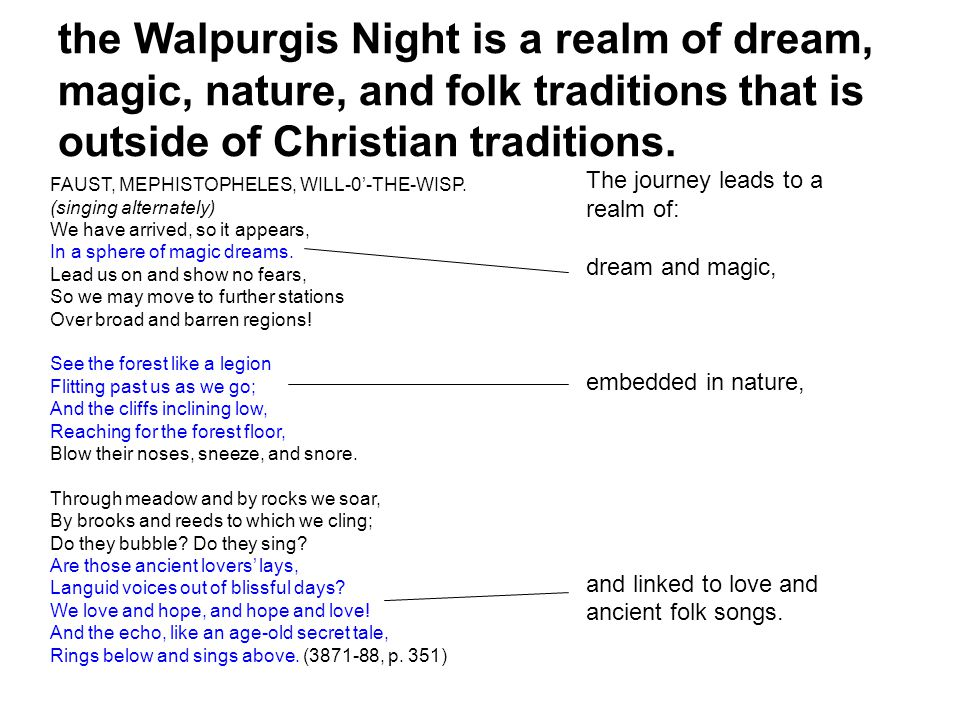the Walpurgis Night is a realm of dream, magic, nature, and folk traditions that is outside of Christian traditions.