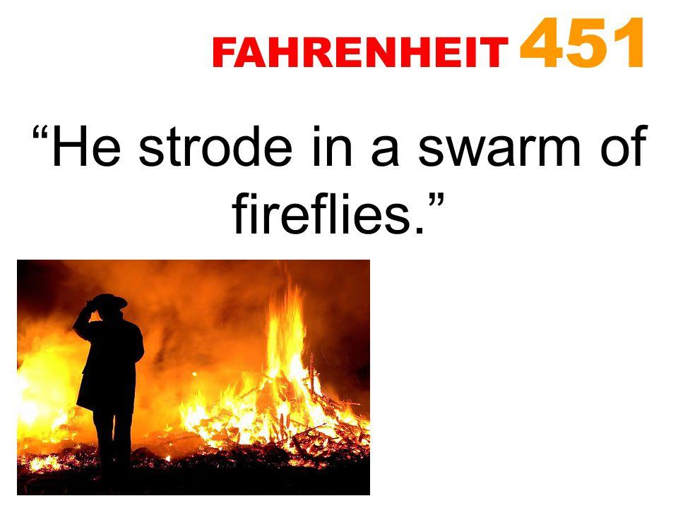 """He strode in a swarm of fireflies."" FAHRENHEIT 451"