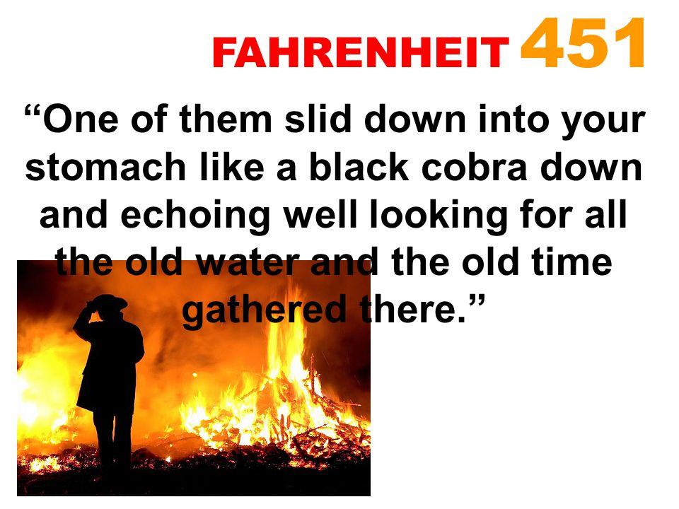 """""""One of them slid down into your stomach like a black cobra down and echoing well looking for all the old water and the old time gathered there."""" FAHR"""
