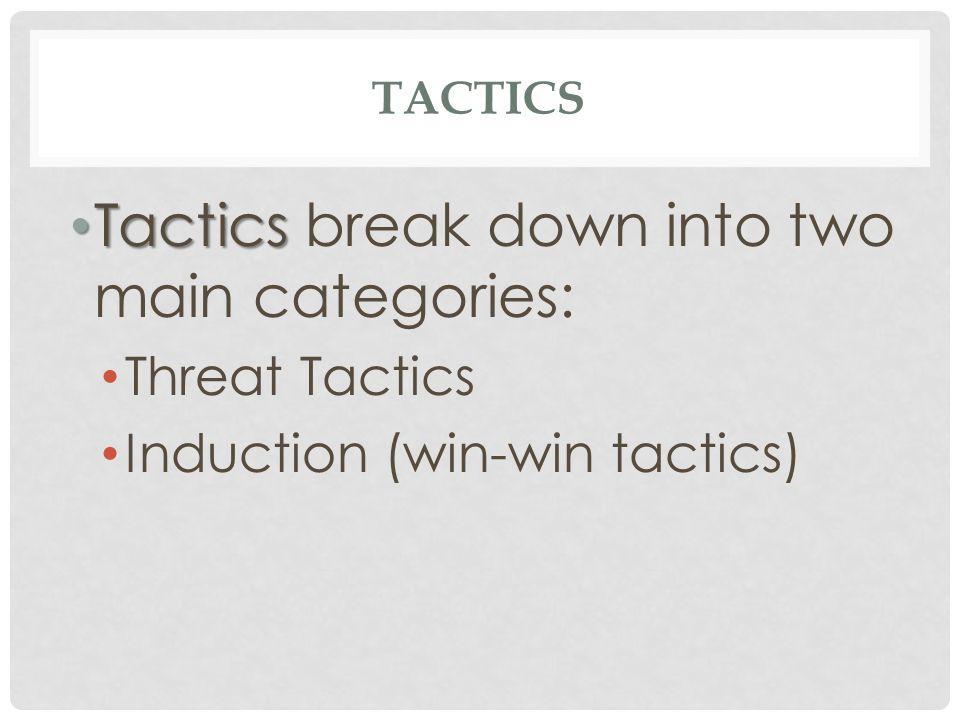TACTICS Tactics Tactics break down into two main categories: Threat Tactics Induction (win-win tactics)