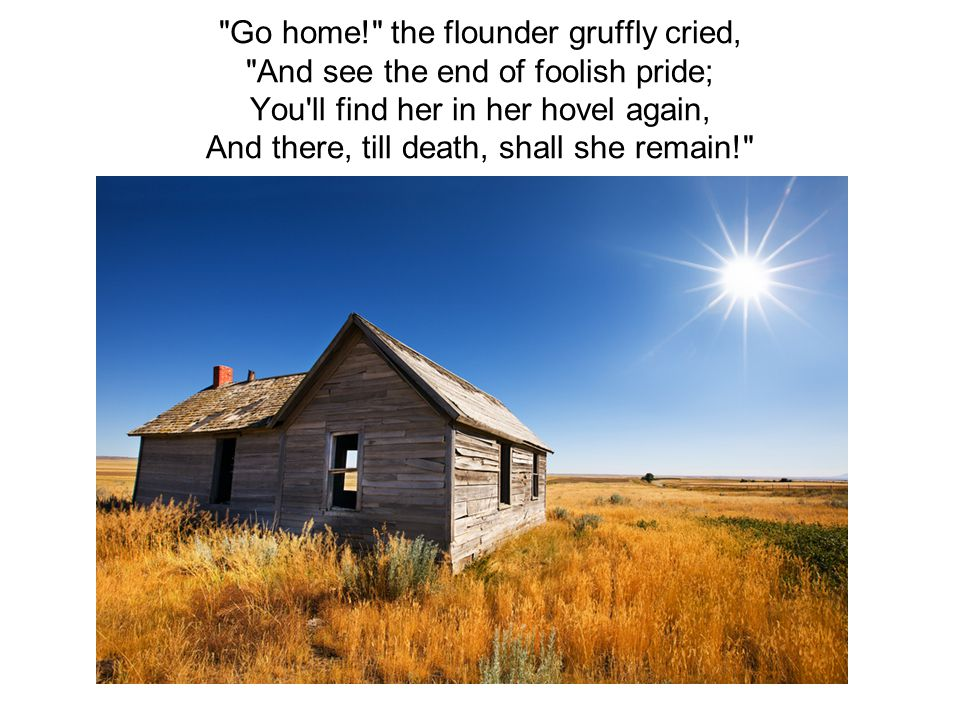 Go home! the flounder gruffly cried, And see the end of foolish pride; You ll find her in her hovel again, And there, till death, shall she remain!