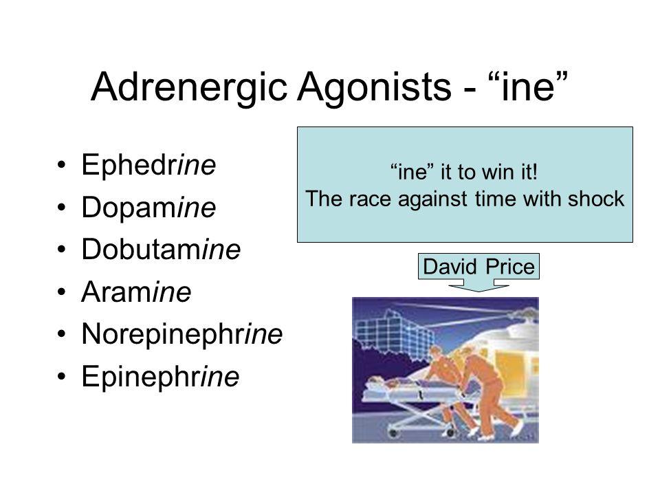 Adrenergic Agonists - ine Ephedrine Dopamine Dobutamine Aramine Norepinephrine Epinephrine David Price ine it to win it.