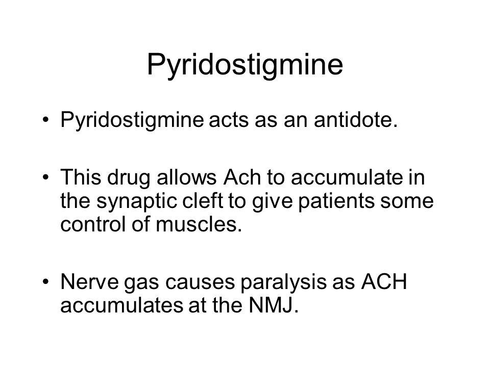 Pyridostigmine Pyridostigmine acts as an antidote.