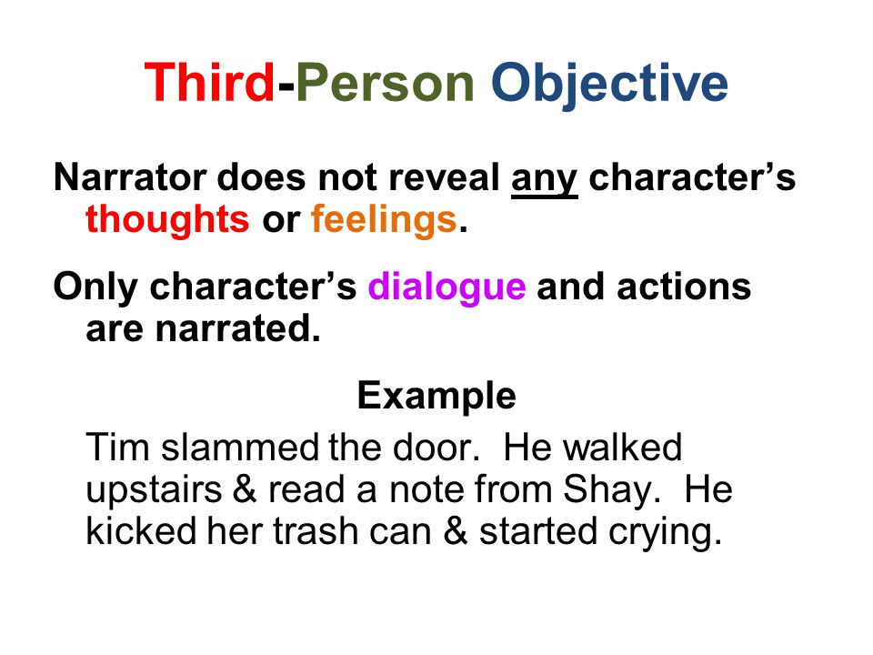 Third-Person Objective Narrator does not reveal any character's thoughts or feelings.