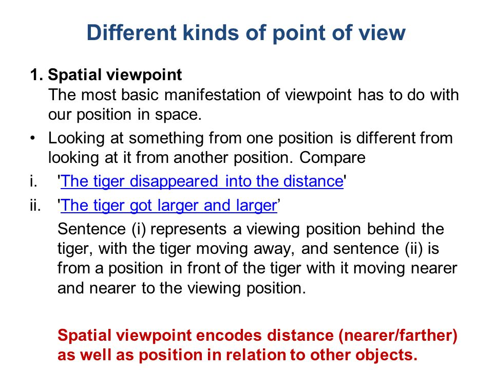 Different kinds of point of view 1.