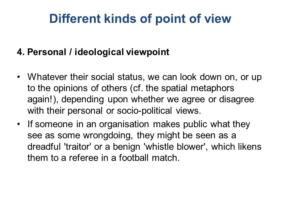 Different kinds of point of view 4.