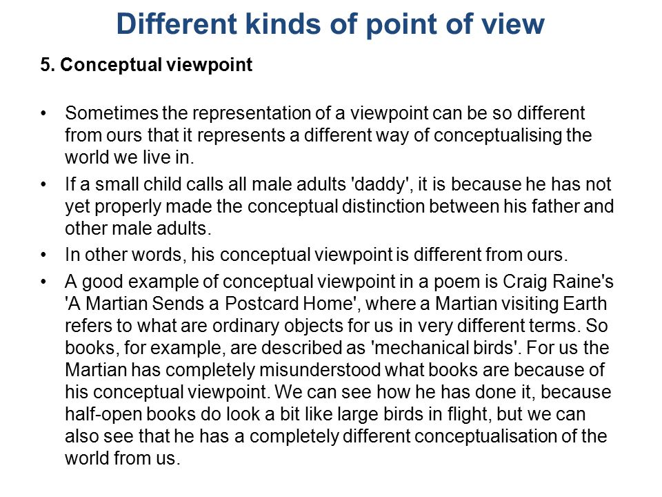 Different kinds of point of view 5.