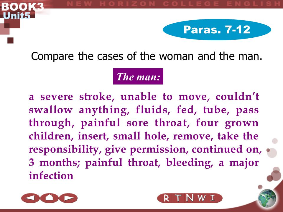 BOOK3 Unit5 Paras. 7-12 Compare the cases of the woman and the man. 80-year old, cancer of liver, operate in vain, anti-cancer drugs, sick, cannot cur