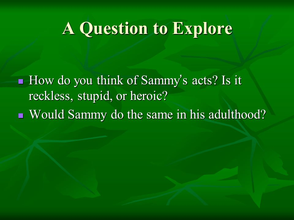 A Question to Explore How do you think of Sammy ' s acts? Is it reckless, stupid, or heroic? How do you think of Sammy ' s acts? Is it reckless, stupi