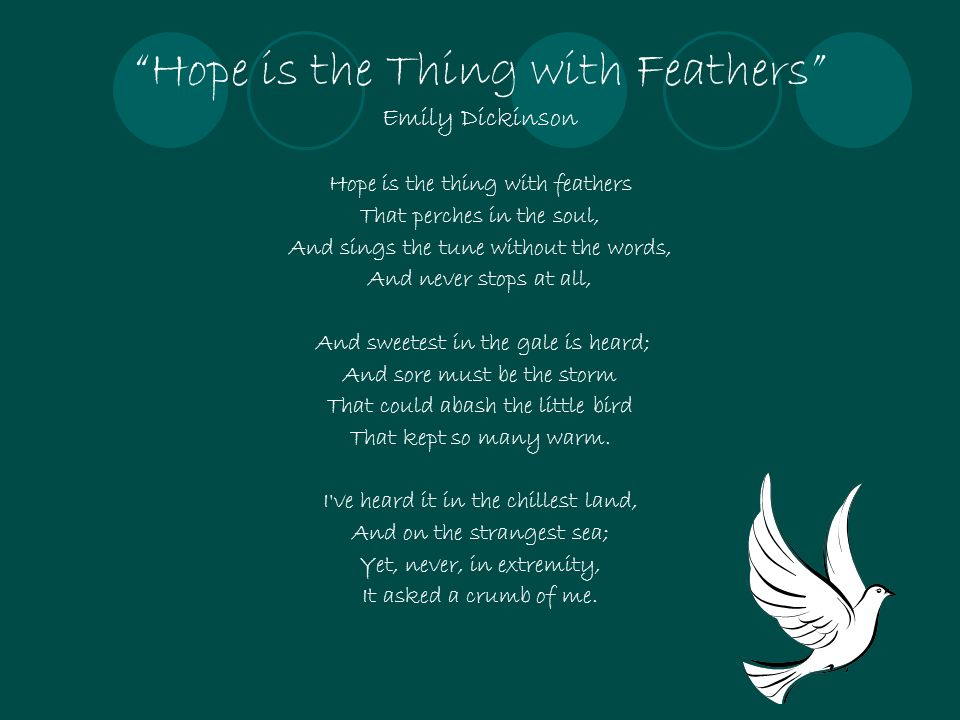 """""""Hope is the Thing with Feathers"""" Emily Dickinson Hope is the thing with feathers That perches in the soul, And sings the tune without the words, And"""