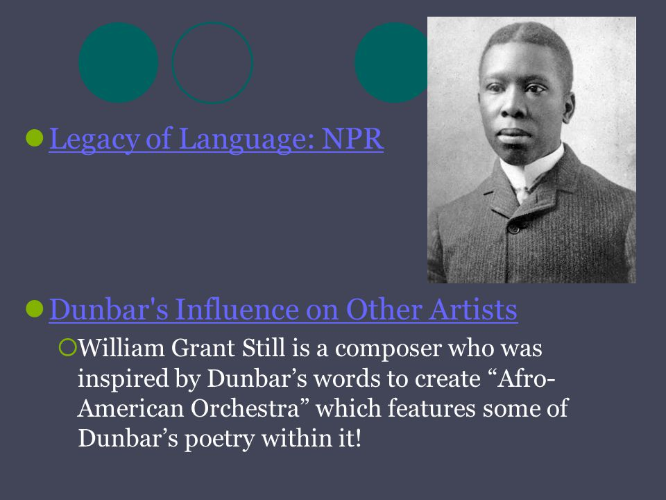 """Legacy of Language: NPR Dunbar's Influence on Other Artists  William Grant Still is a composer who was inspired by Dunbar's words to create """"Afro- Am"""