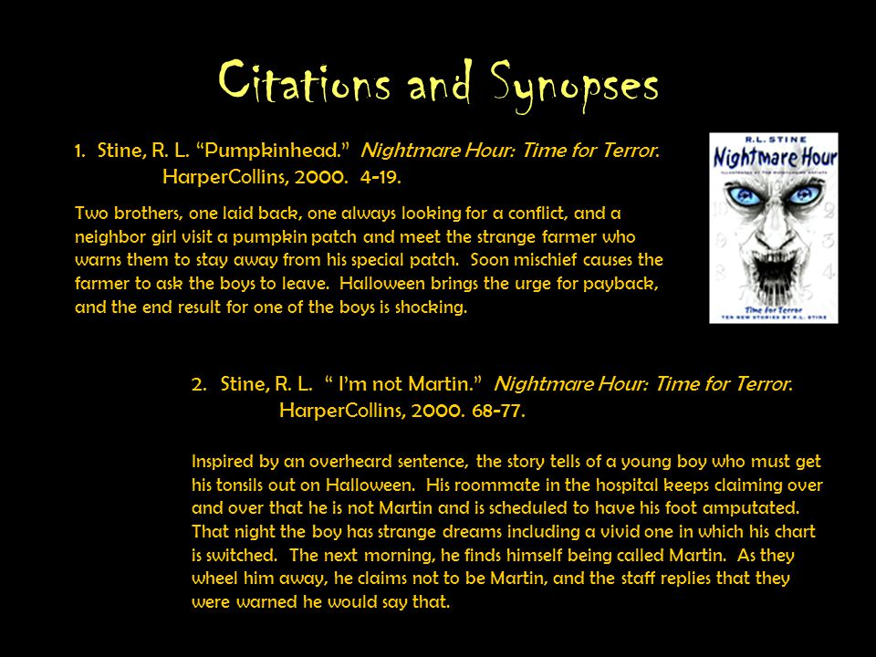 Rationale This is a presentation of ten scary stories popular with children in grades 3-5 to find the characteristics that link the stories and their popularity.