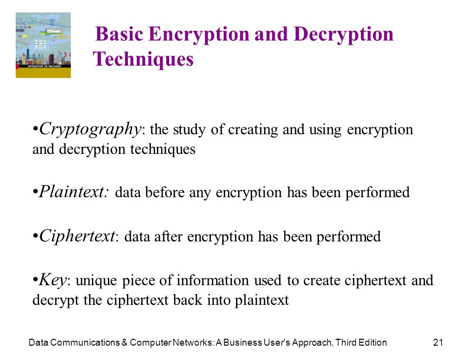 Data Communications & Computer Networks: A Business User's Approach, Third Edition21 Basic Encryption and Decryption Techniques Cryptography : the stu