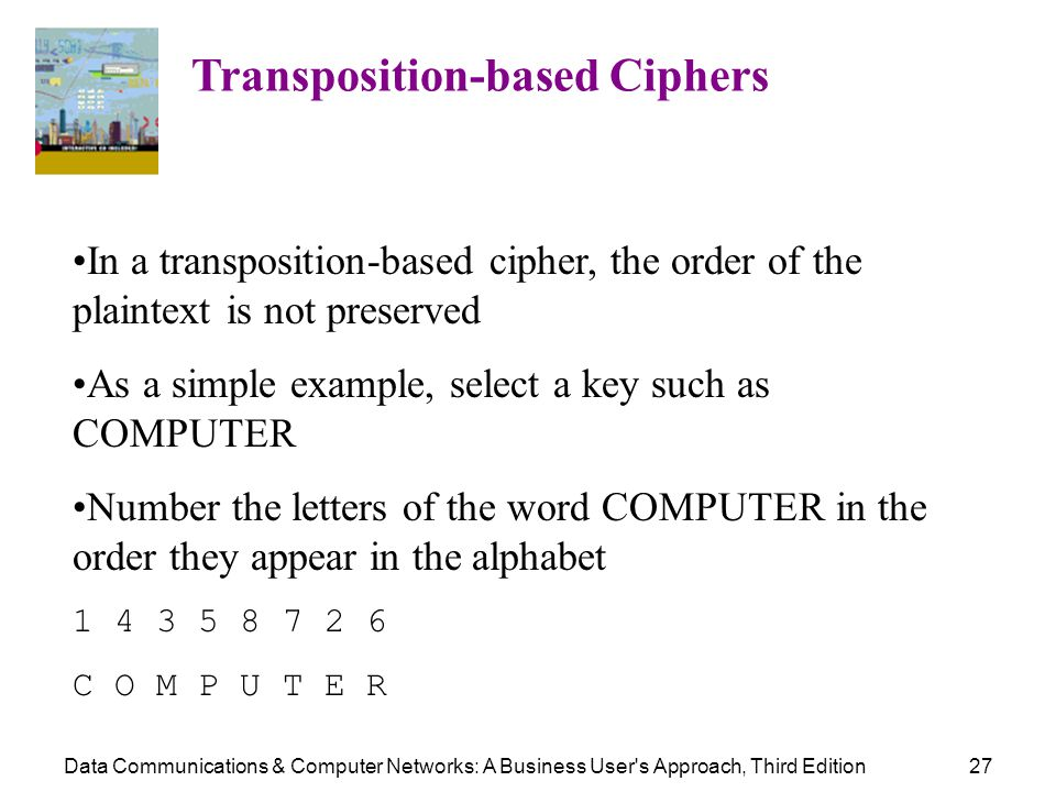 Data Communications & Computer Networks: A Business User's Approach, Third Edition27 Transposition-based Ciphers In a transposition-based cipher, the