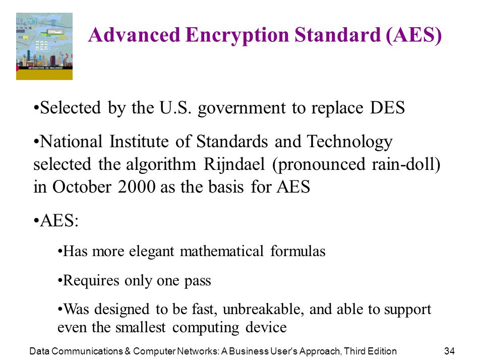 Data Communications & Computer Networks: A Business User's Approach, Third Edition34 Advanced Encryption Standard (AES) Selected by the U.S. governmen