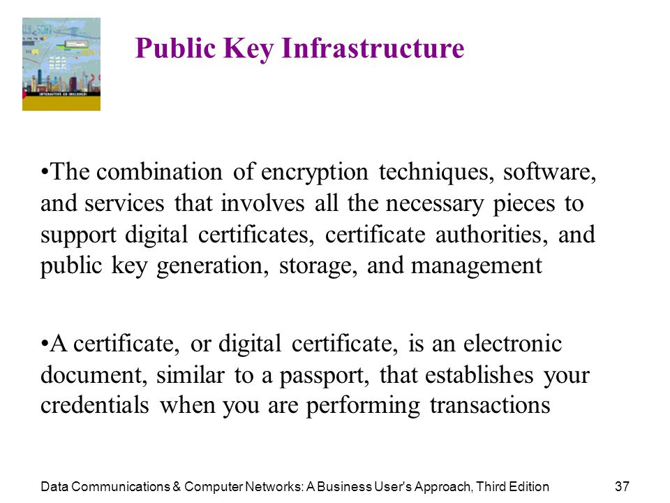 Data Communications & Computer Networks: A Business User's Approach, Third Edition37 Public Key Infrastructure The combination of encryption technique