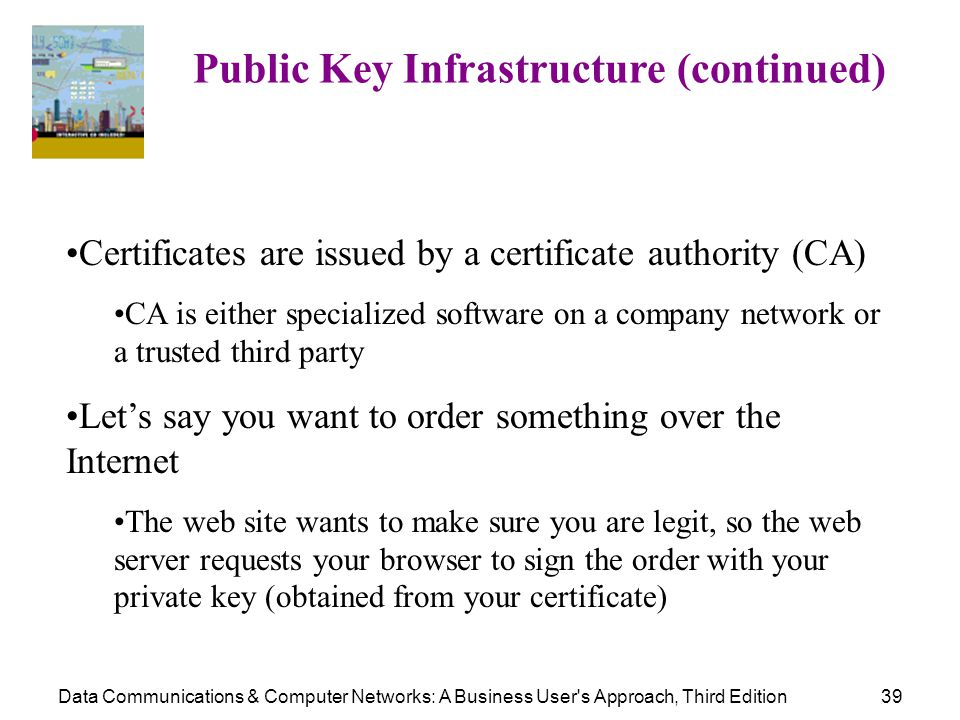 Data Communications & Computer Networks: A Business User's Approach, Third Edition39 Public Key Infrastructure (continued) Certificates are issued by