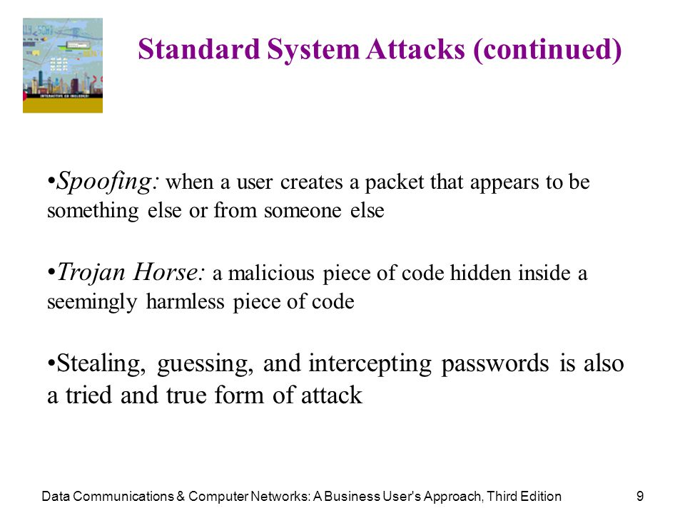 Data Communications & Computer Networks: A Business User's Approach, Third Edition9 Standard System Attacks (continued) Spoofing: when a user creates