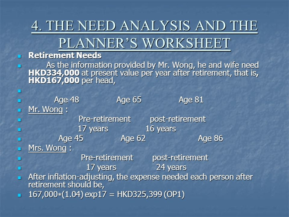 4. THE NEED ANALYSIS AND THE PLANNER'S WORKSHEET Retirement Needs Retirement Needs As the information provided by Mr. Wong, he and wife need HKD334,00