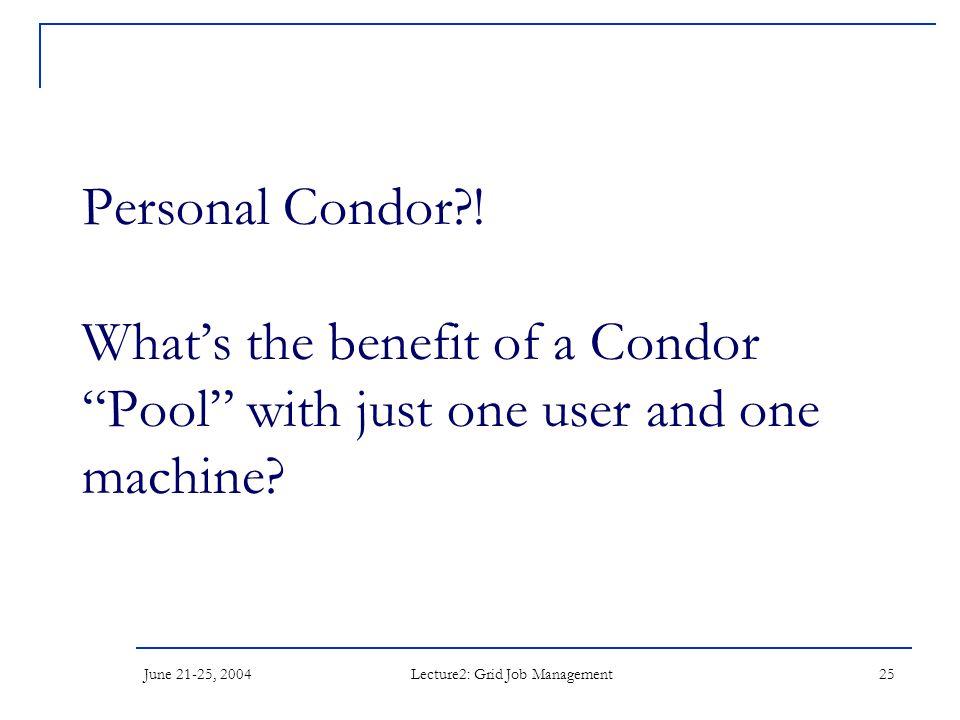 June 21-25, 2004 Lecture2: Grid Job Management 25 Personal Condor .