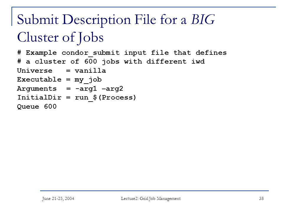 June 21-25, 2004 Lecture2: Grid Job Management 38 Submit Description File for a BIG Cluster of Jobs # Example condor_submit input file that defines #