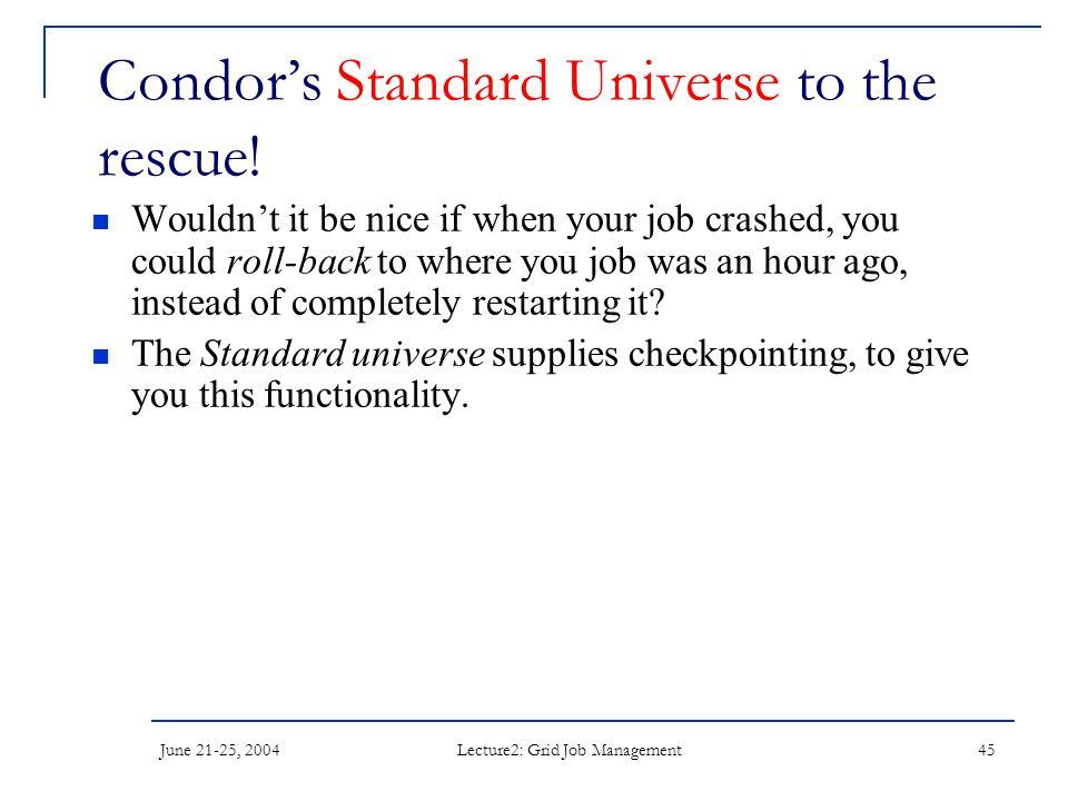 June 21-25, 2004 Lecture2: Grid Job Management 45 Condor's Standard Universe to the rescue.