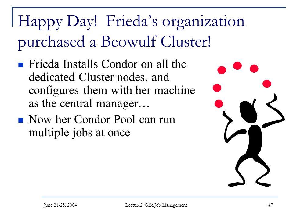 June 21-25, 2004 Lecture2: Grid Job Management 47 Happy Day.