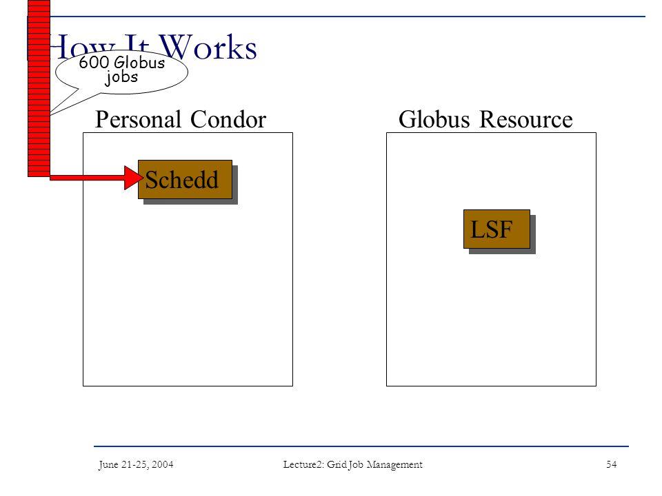 June 21-25, 2004 Lecture2: Grid Job Management 54 How It Works Schedd LSF Personal CondorGlobus Resource 600 Globus jobs