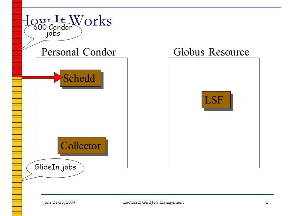 June 21-25, 2004 Lecture2: Grid Job Management 72 How It Works Schedd LSF Collector Personal CondorGlobus Resource 600 Condor jobs GlideIn jobs