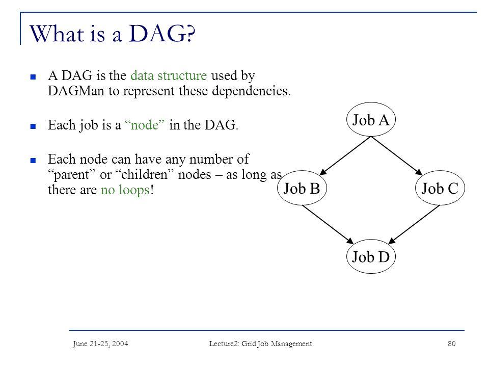 June 21-25, 2004 Lecture2: Grid Job Management 80 What is a DAG.