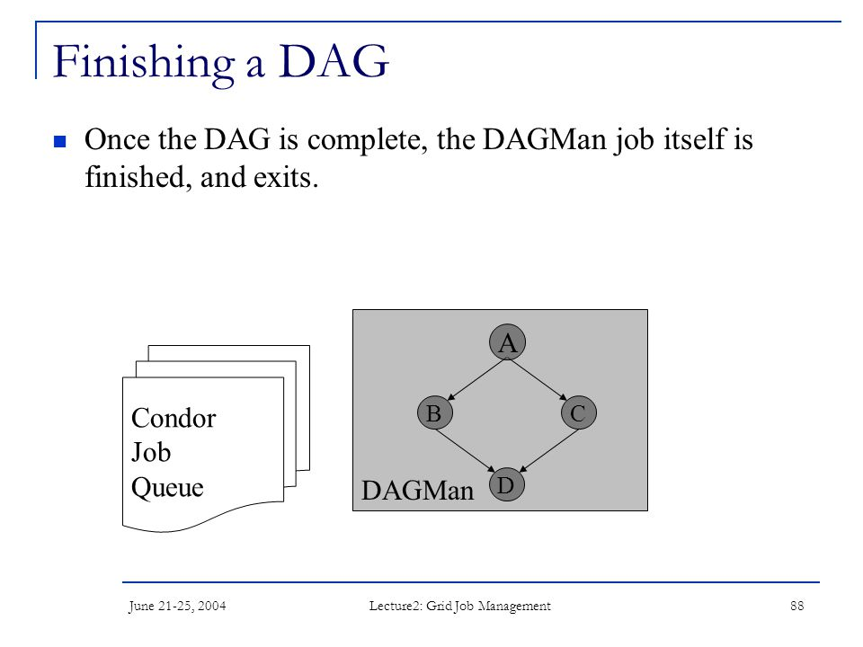 June 21-25, 2004 Lecture2: Grid Job Management 88 DAGMan Finishing a DAG Once the DAG is complete, the DAGMan job itself is finished, and exits. Condo