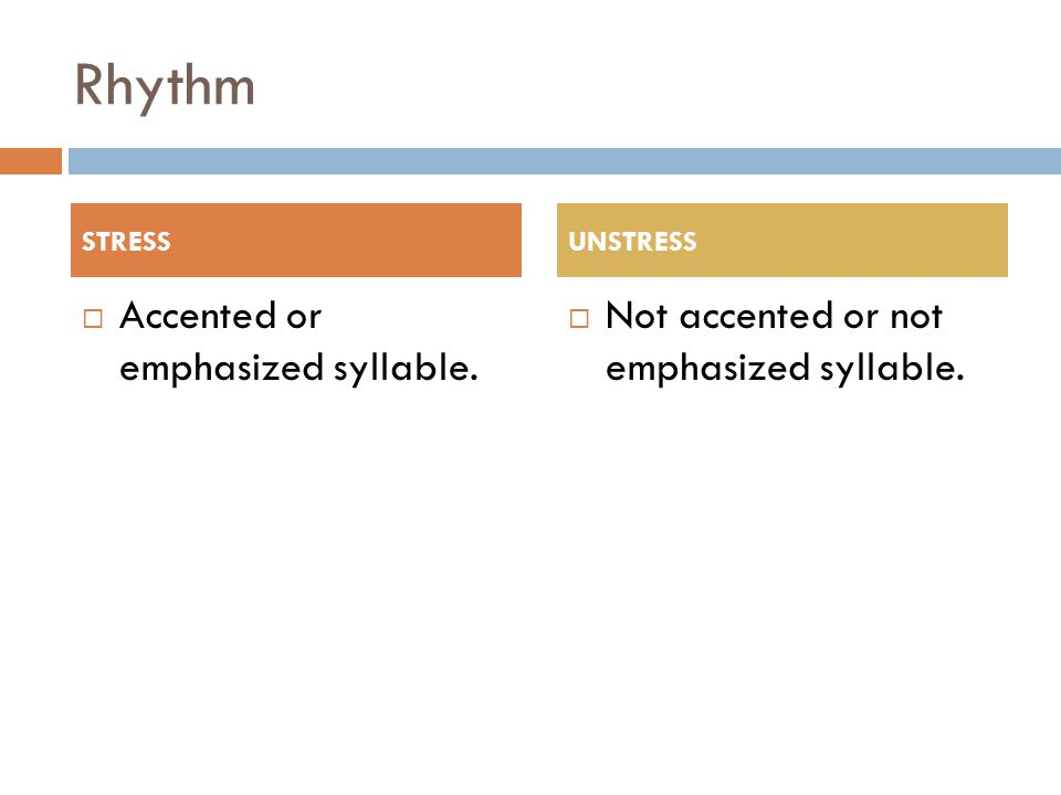 Rhythm  Accented or emphasized syllable.  Not accented or not emphasized syllable. STRESSUNSTRESS