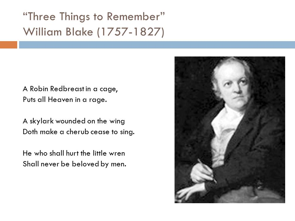 """""""Three Things to Remember"""" William Blake (1757-1827) A Robin Redbreast in a cage, Puts all Heaven in a rage. A skylark wounded on the wing Doth make a"""