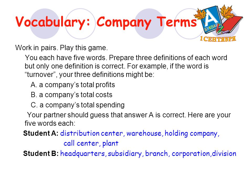 Vocabulary: Company Terms Work in pairs. Play this game. You each have five words. Prepare three definitions of each word but only one definition is c