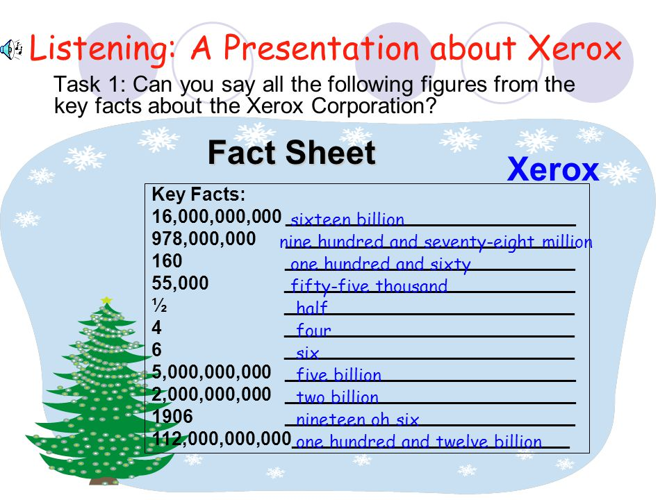 Listening: A Presentation about Xerox Task 1: Can you say all the following figures from the key facts about the Xerox Corporation? Key Facts: 16,000,