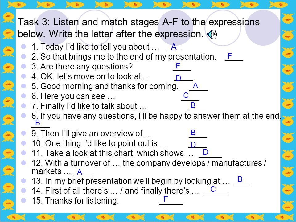 Task 3: Listen and match stages A-F to the expressions below. Write the letter after the expression. 1. Today I'd like to tell you about … _A_ 2. So t