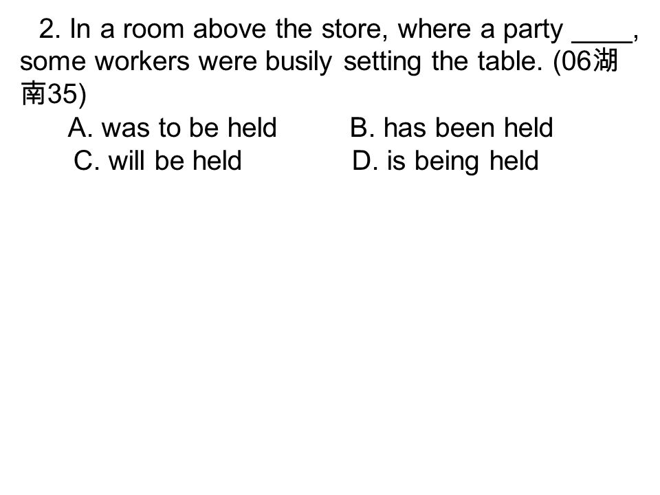 2. In a room above the store, where a party ____, some workers were busily setting the table.
