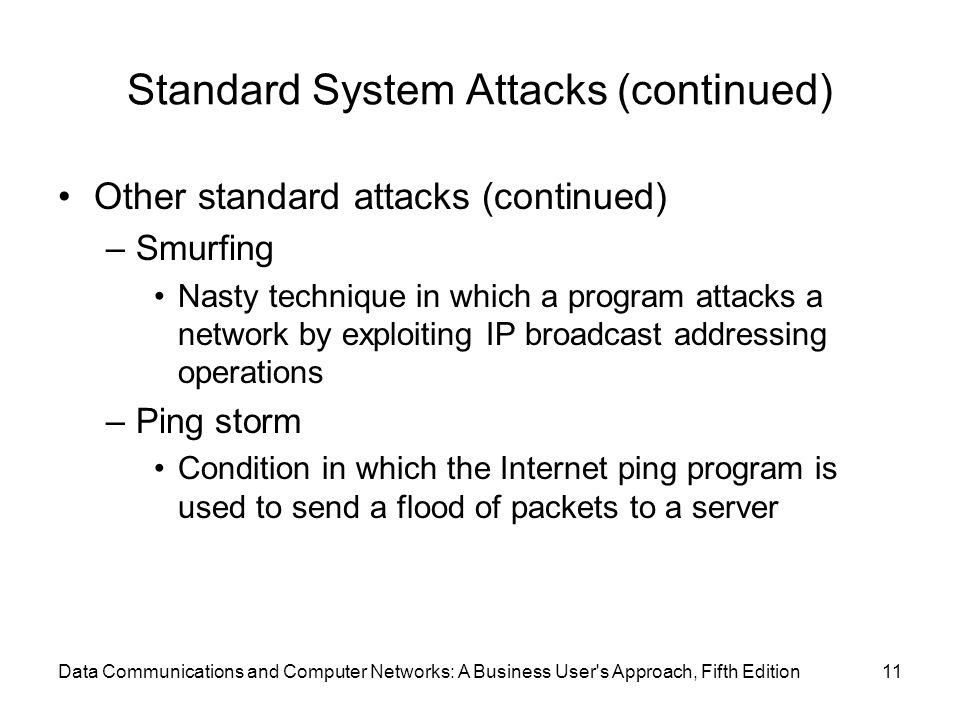 Data Communications and Computer Networks: A Business User s Approach, Fifth Edition11 Standard System Attacks (continued) Other standard attacks (continued) –Smurfing Nasty technique in which a program attacks a network by exploiting IP broadcast addressing operations –Ping storm Condition in which the Internet ping program is used to send a flood of packets to a server